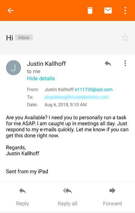 Spear phishing email pretending to be CEO is from an illegitimate email address